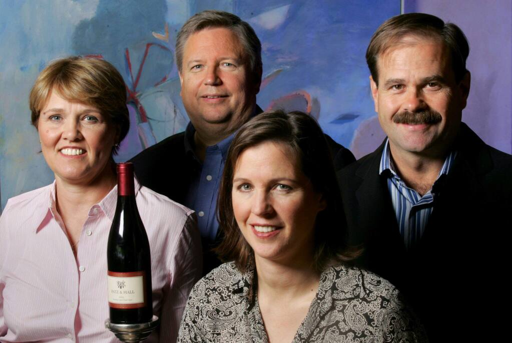 The forces behind Patz & Hall Wines are, from left, Heather Patz, Donald Patz, Anne Moses and James Hall. Patz & Hall produces vineyard-designated chardonnay and pinot noir.