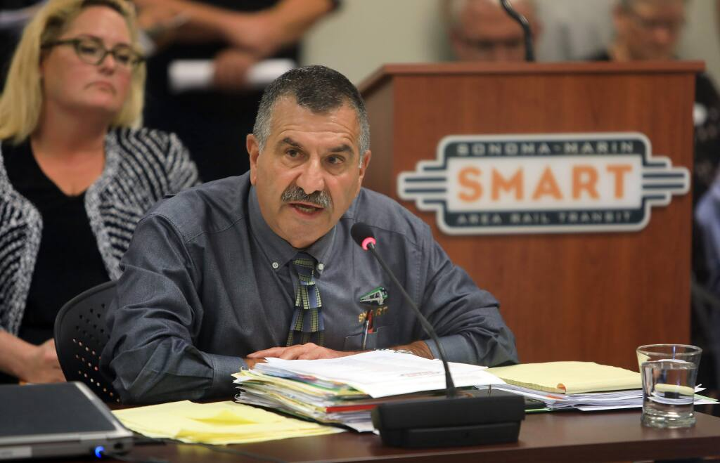 SMART General Manger Farhad Mansourian makes a statement about the recent deaths on the SMART tracks, during a board meeting in Petaluma, Wednesday, July 17, 2019. (Kent Porter / The Press Democrat) 2019