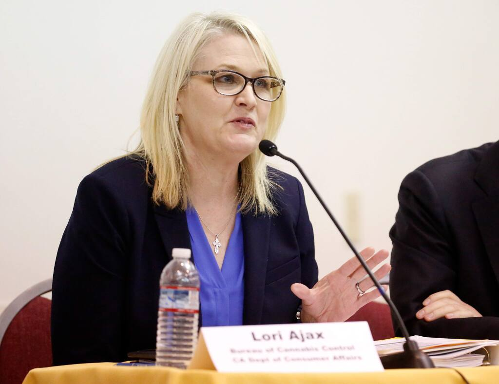 Lori Ajax, chief of the Bureau of Cannabis Control, which is part of the California Department of Consumer affairs, speaks during a conference called the 'First 60 Days of Prop 64,' at Ukiah Valley Conference Center in Ukiah, California, on Thursday, March 1, 2018. (Alvin Jornada / The Press Democrat)