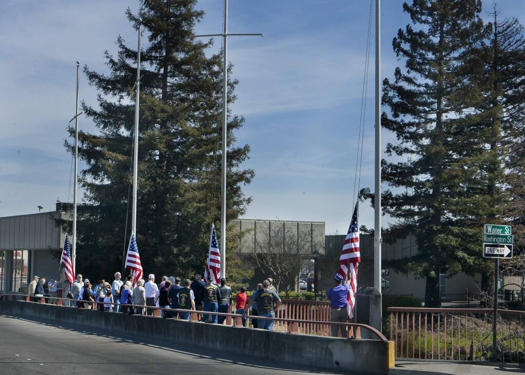 The view from Petaluma Blvd before the new flags were raised at Flag raising ceremony at East Washington St. Bridge March 08, 2015 (JOHN O'HARA/FOR THE ARGUS-COURIE