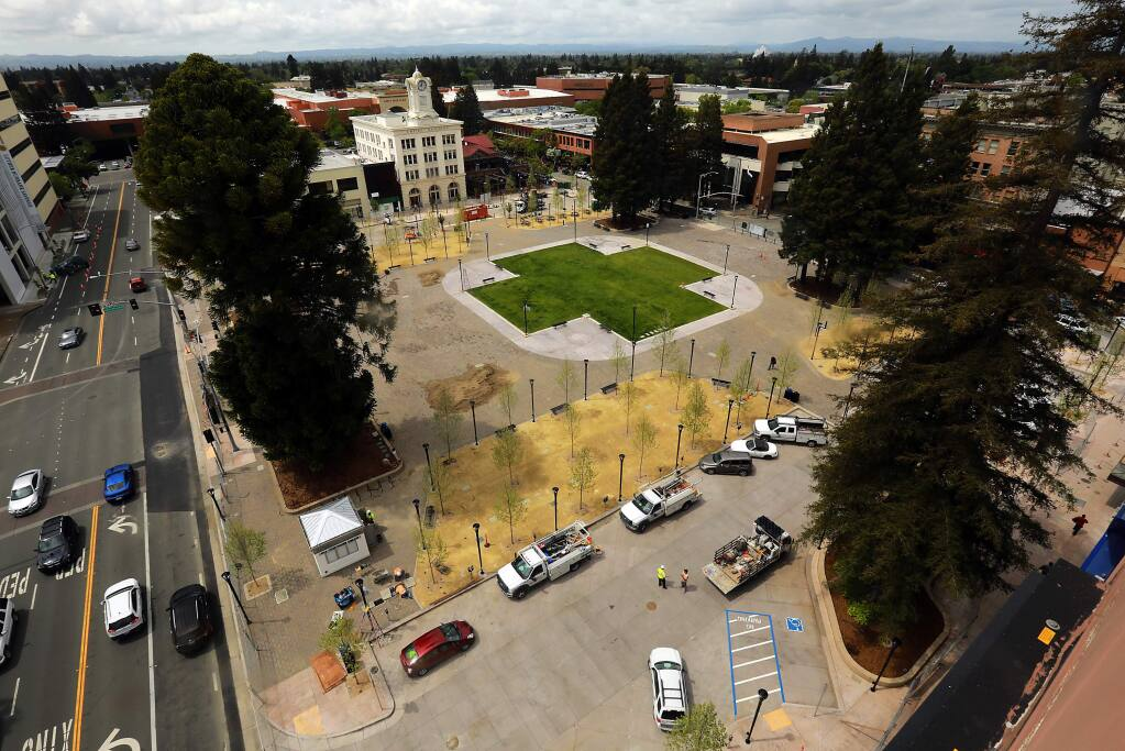 Fifty years after four lanes of Mendocino Avenue separated Old Courthouse Square in two, the square has been reunified in downtown Santa Rosa. (JOHN BURGESS/ PD)