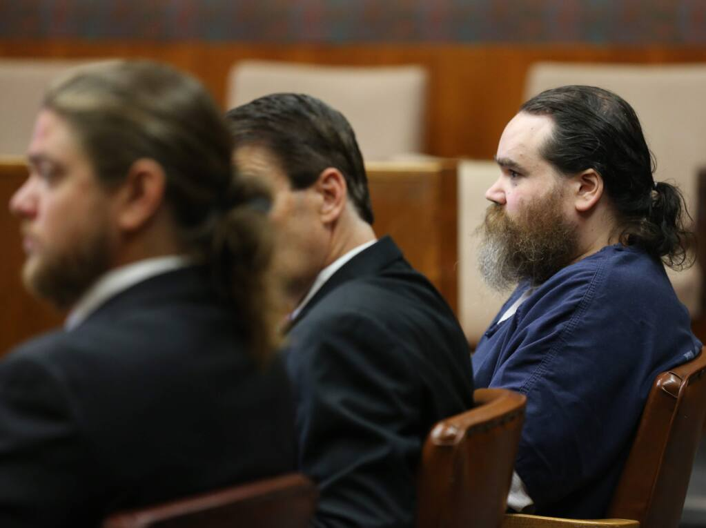 Shaun Gallon at his sentencing hearing in Sonoma County Superior Court in Santa Rosa on Monday, July 15, 2019. Gallon was sentenced to life in prison for the killings of a young couple in 2004, the 2017 murder of his brother and a 2004 attempted murder. (BETH SCHLANKER/ PD)