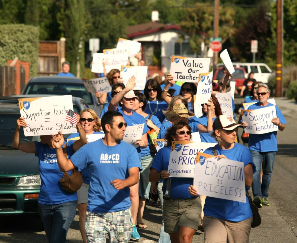 This photo, taken July 15, captured one of many protests held in recent months by the Petaluma City Schools District teachers.