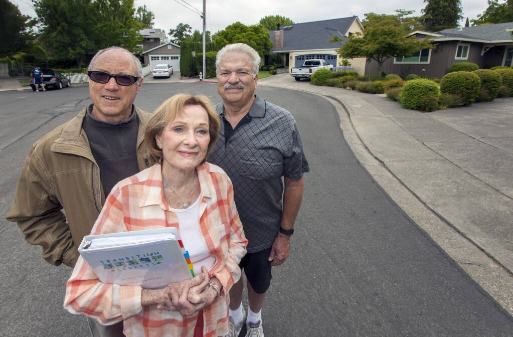 Residents of Third Street East - Ed Clay, Patricia Akay and Vic Zarzana - want to change the world one cul-de-sac at a time. (Photo by Robbi Pengelly/Index-Tribune)
