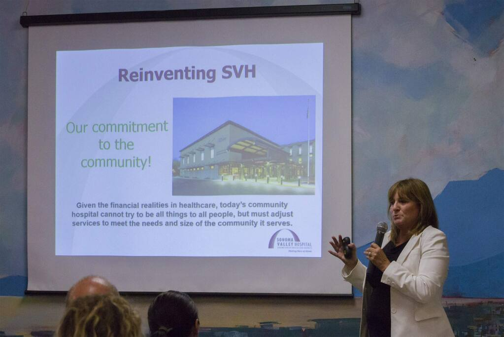 Kelly Mather, CEO of Sonoma Valley Hospital at the at the Hospital Board meeting on July 25, 2018, explained to those who gathered there how the hospital would need to change. (Photo by Robbi Pengelly/Index-Tribune)