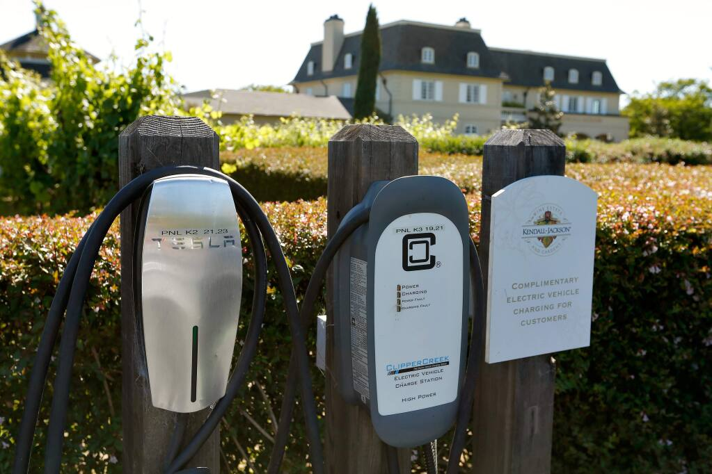 The complimentary electric vehicle charging station for customers at Kendall-Jackson Wine Estate and Gardens in Santa Rosa, California, on Wednesday, May 31, 2017. (Alvin Jornada / The Press Democrat)