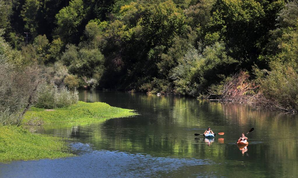 Kayakers float down the Russian River near the Odd Fellows Park summer crossing in Guerneville on Thursday, Aug. 15, 2019 in Guerneville. (KENT PORTER/ PD)