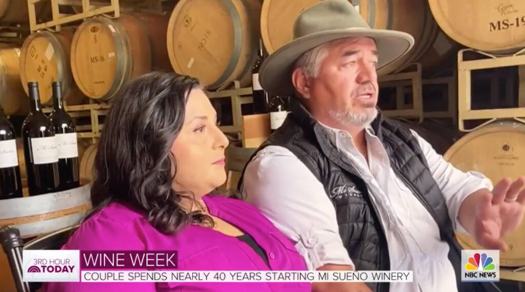 "In this screenshot from a ""Today"" show segment, Rolando and Lorena Herrera talk about launching Mi Sueño Winery in Napa. (""Today Show"")"