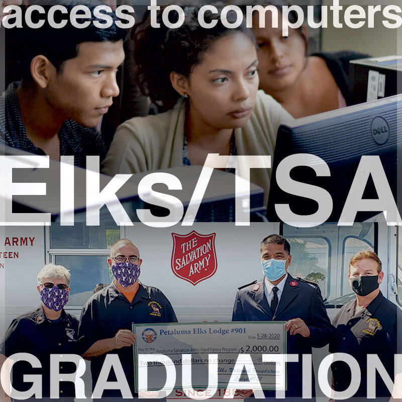 Some of what is being accomplished at the Elks/TSA youth center is providing students access to computers making it possible for them to finish their school work so they could graduate. Photo of students at computer: pxfuel.com/free-photo