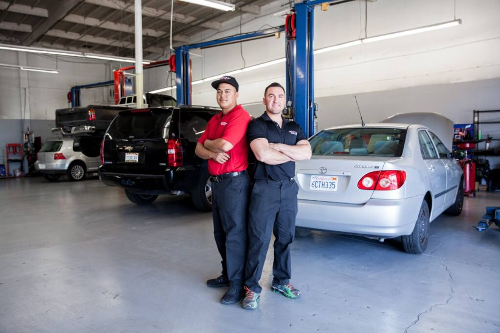 """Donny and Antonio Lara, the """"D"""" and """"A"""" co-owners of DNA Automotive in San Rafael. (Facebook)"""