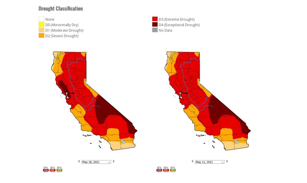 U.S. Drought Monitor two-week comparison of California, May 11, 2021 and May 18, 2021.