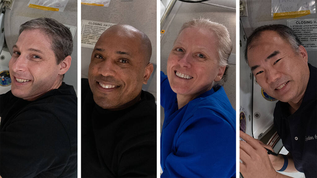 This photo combination provided by NASA shows from left,  Expedition 64 Flight Engineers and SpaceX Crew-1 members Michael Hopkins, Victor Glover, Shannon Walker and Soichi Noguchi.   SpaceX is targeting the predawn hours of Sunday, May 2,  to bring back three NASA astronauts and one from Japan, after dangerously high wind scuttled a pair of earlier attempts. (NASA via AP)