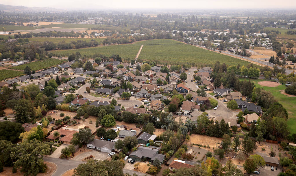 Subdivisions off East Shiloh Road across the road and to the north of 68 acres of vineyard land. The Koi Nation of Sonoma County have put forth plans to build a resort casino at the site of the vineyard, Wednesday, Sept. 15, 2021. (Kent Porter / The Press Democrat)