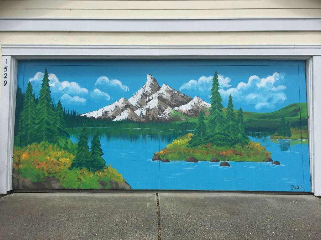 GARAGE DOOR LANDSCAPE: As part of the Petaluma Arts Center's citywide Art Apart program, this eye-catching painting by Siena Wigert can be seen and enjoyed at 1529 Sierra Dr.