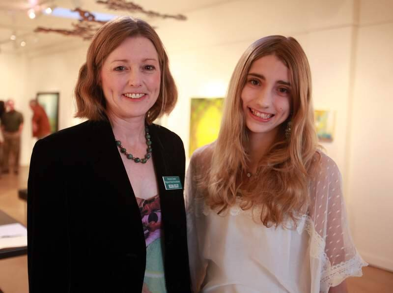 Melissa Kelley, left, Sonoma County Regional Parks Foundation executive director with her daughter Clarice Meffert, 13, during the Annadel State Park fundraiser held at Gallery 300, March 3, 2012.