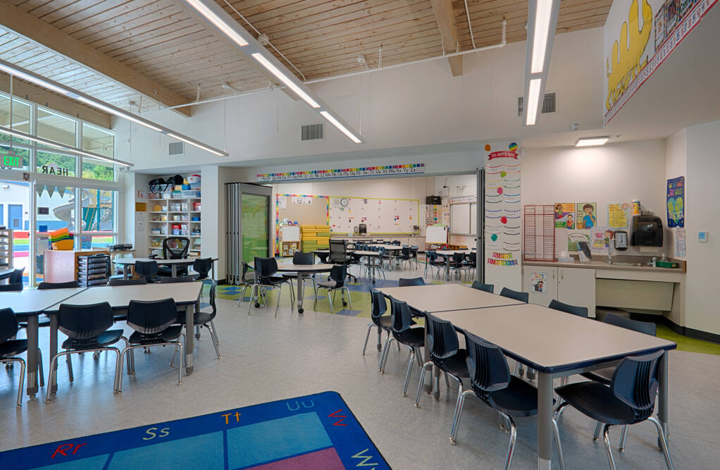 Modernized and flexible meeting spaces accommodate team teaching. Small-group rooms were added for conference space, parent/teacher conferences and tutoring at Laurel Dell Elementary School, seen here on July 15, 2020. (Courtesy of Quattrocchi Kwok Architects)
