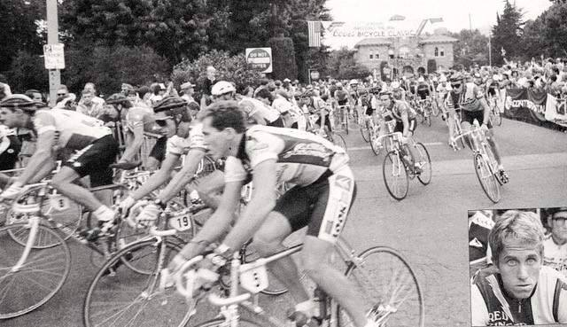 Sonoma was host to several starts of a Coors Classic bicycle race from 1985 to 1988. This shot from the 1986 start, shows the cyclists leaving the Plaza and turning up Napa Street. Greg LeMond, inset, placed second in the Coors race in 1986, but was the first American to win the Tour de France that year.