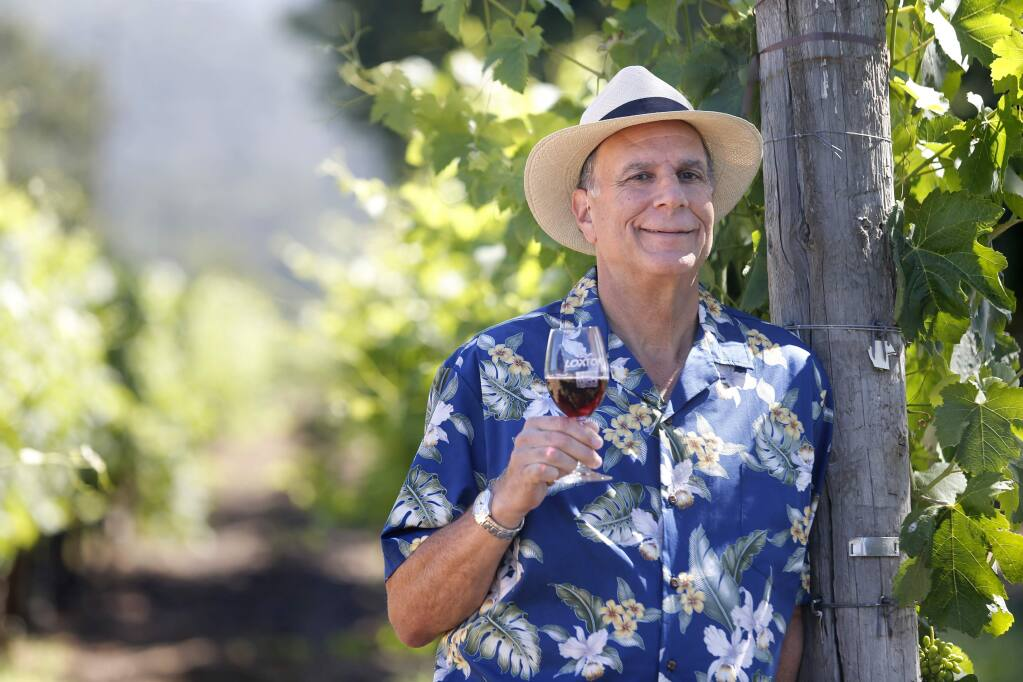 Andy Hyman, author of 'Snob Free Wine Tasting Companion' and tour guide for Platypus Tours Ltd. at Loxton Cellars on Wednesday, June 29, 2016 in Glen Ellen, California . (BETH SCHLANKER/ The Press Democrat)