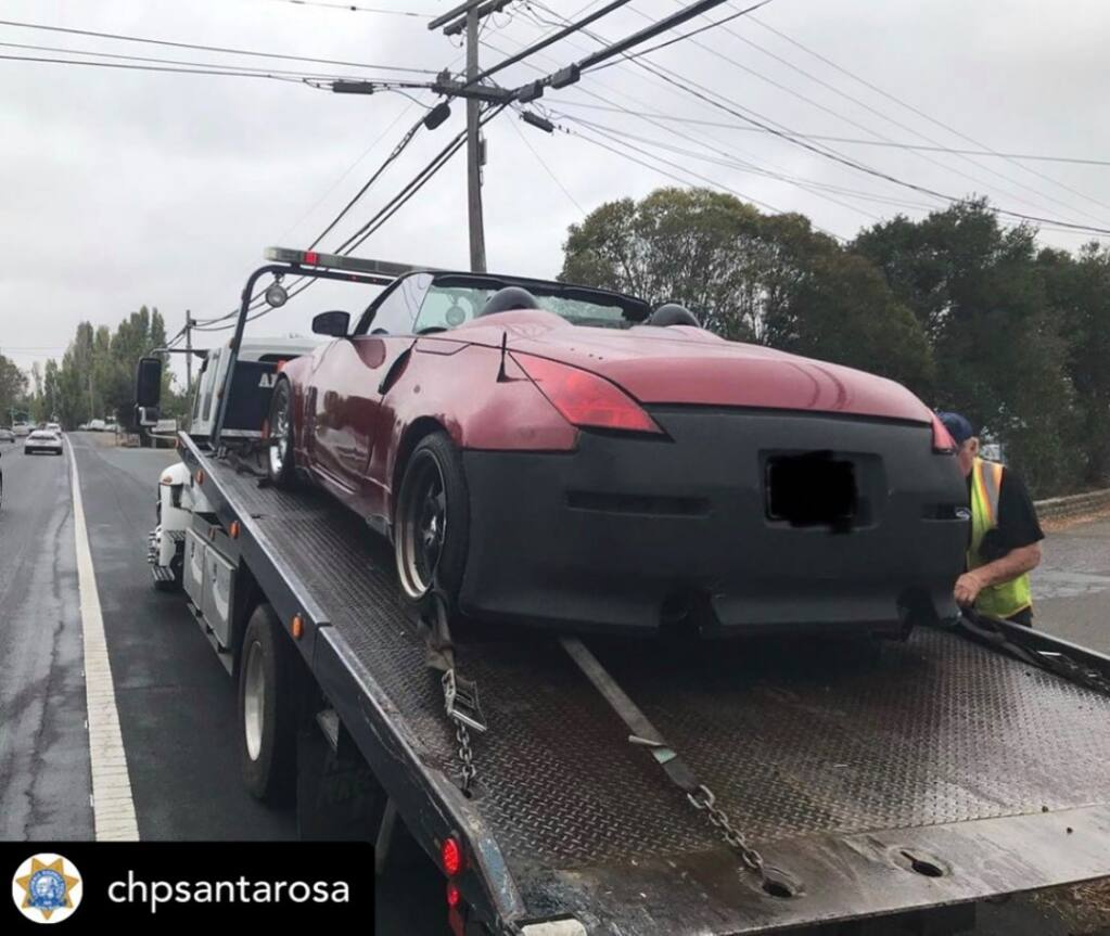 Petaluma police impounded this Nissan 350Z after suspecting the driver of reckless driving.