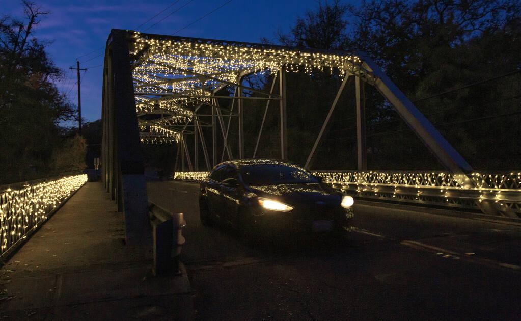 The Jim Berkland Bridge in Glen Ellen, lights courtesy a big community effort. (Robbi Pengelly/Index-Tribune)