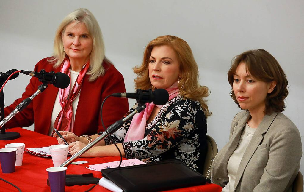 From left, Sonoma County Supervisors Susan Gorin, Shirlee Zane and Lynda Hopkins spoke about becoming the board's first female majority at a forum sponsored by KBBF 89.1FM in collaboration with Sonoma County Chapter of the National Organization for Women and radio program Womenâs Spaces in Santa Rosa on Wednesday, March 22, 2017. (John Burgess/The Press Democrat)