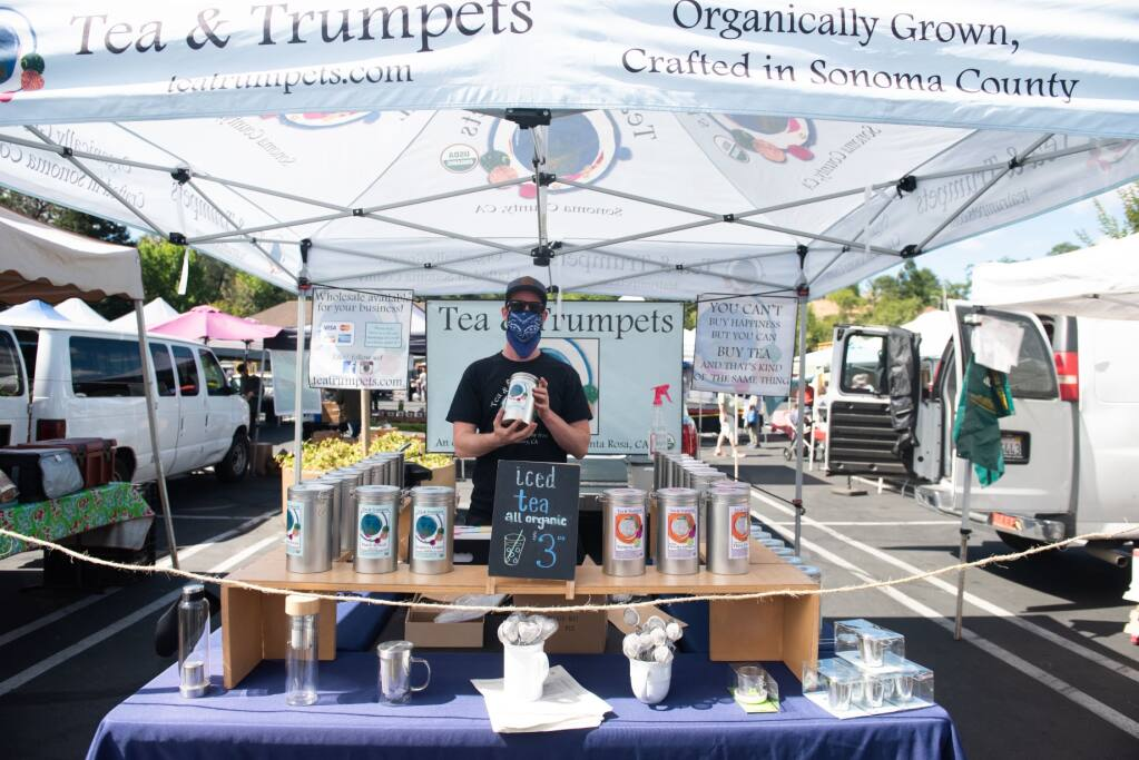 The Petaluma Farmers Market has everything needed for safe-tea, friendship and more. Just ask our Petaluma columnist, Katie Watts. Photo provided.