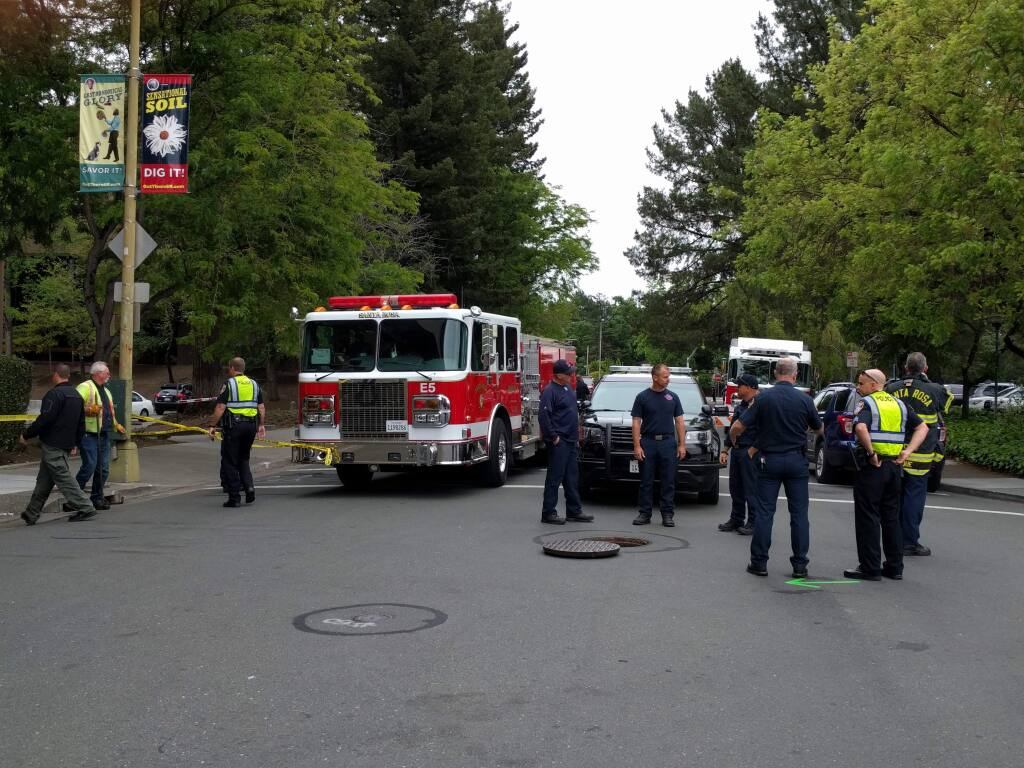 Police were investigating after a body was discovered in a storm drain near the intersection of First and D streets in Santa Rosa on Monday, May 14, 2018. (CHRISTOPHER CHUNG/ PD)