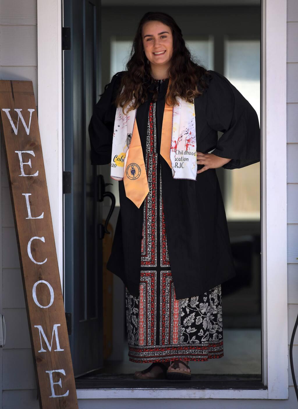 Jessica Cahill of Santa Rosa is graduating from Santa Rosa Junior College, Saturday, May 23, 2020 during a virtual celebration because of the coronavirus pandemic. Photo taken Thursday, May 21, 2020. (Kent Porter / The Press Democrat) 2020