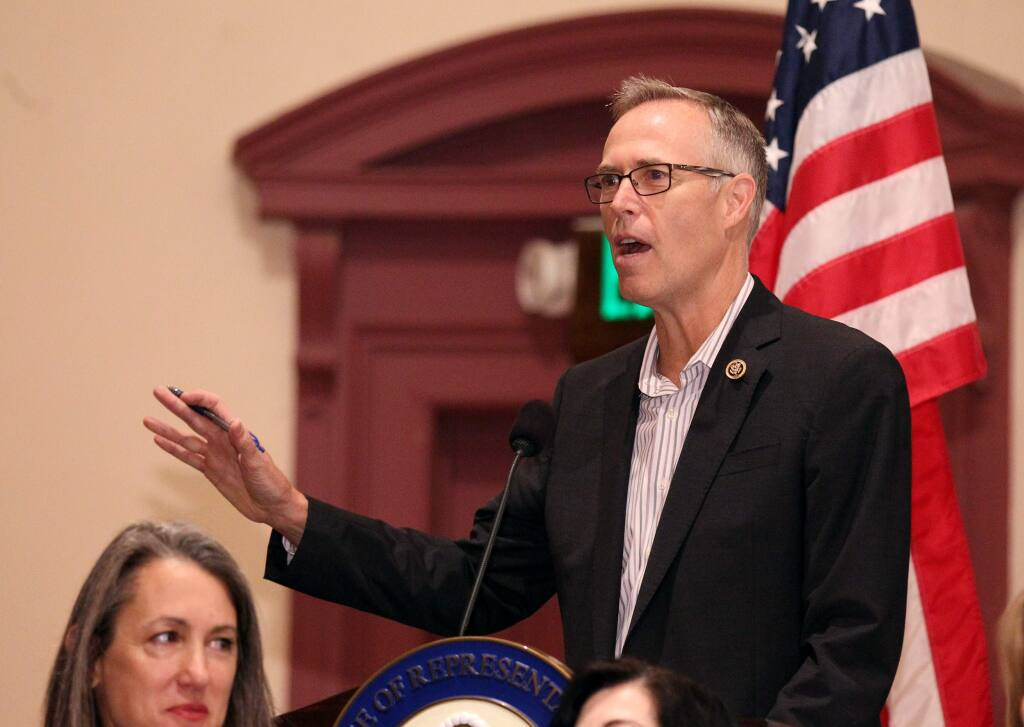 Rep. Jared Huffman, D-Calif., talks to a crowd at a student summit about school safety and gun prevention at Dominican University of California, in San Rafael, on Sunday, March 18, 2018. (Photo by Darryl Bush / For The Press Democrat)