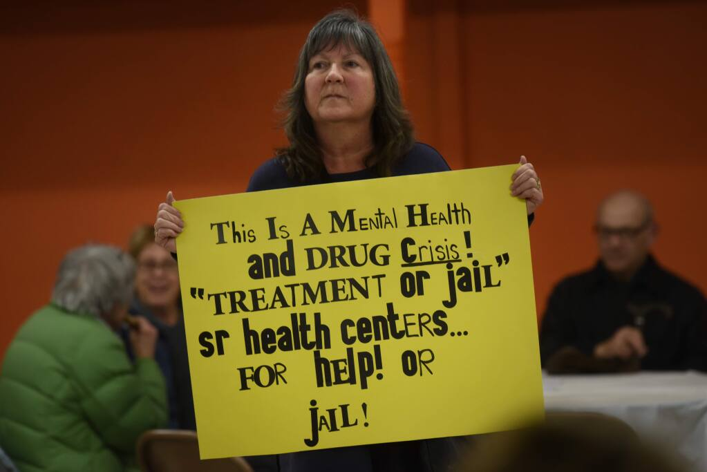 """""""I don't think that compassion is letting people live in squalor,"""" said Sherri Ponzo, 57, a frustrated resident who lives near the Joe Rodota Trail and attended a meeting to discuss the issues regarding homeless persons currently living on that trial that was hosted by Sonoma County officials at the Roseland Village Community Center in Santa Rosa, Calif. on Friday, Jan. 10, 2020.(Photo: Erik Castro/for The Press Democrat)"""