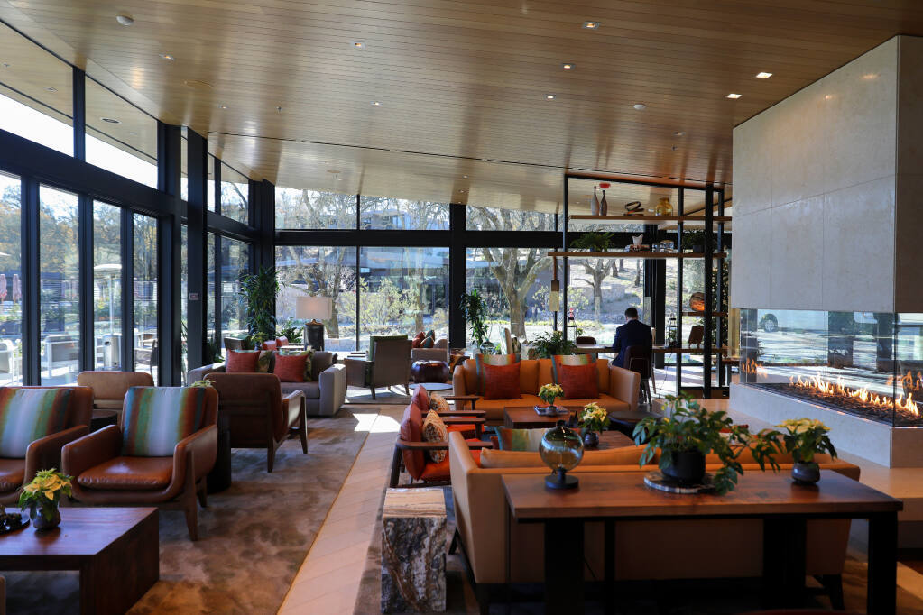 The main lobby of the new Montage luxury resort in Healdsburg on Thursday, December 10, 2020. The resort was purchased in April for $265 million. (Christopher Chung/ The Press Democrat)