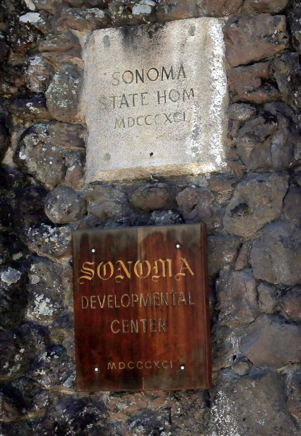 Name plates at the entrance of the the Somoma Developmental Center, Tuesday May 23, 2017. Located in Glen Ellen, the facility is scheduled to close by the end of 2018. $2.1 million will be used in a study to assess the condition of the facility. Many of the buildings are deteriorating with age and may need to be demolished, excluding the historic structures. (Kent Porter / Press Democrat) 2017