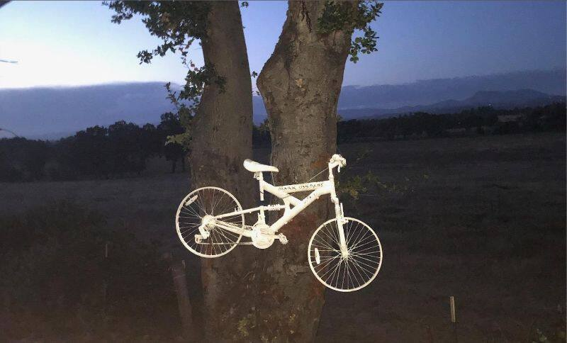 A ghost bike serves as a memorial for a fallen cyclist in Sonoma County. Photo courtesty Sonoma County Bicycle Coalition.