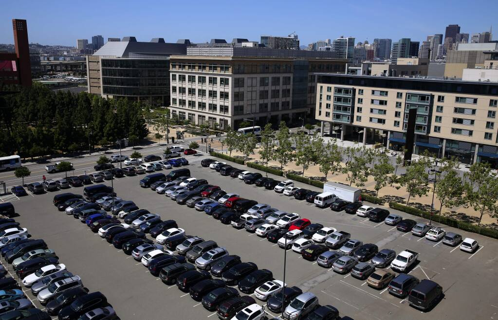The $185 million donation to UCSF by Sanford and Joan Weill will be used to build a neuroscience institute on the location currently occupied by a parking lot. (Christopher Chung / The Press Democrat)