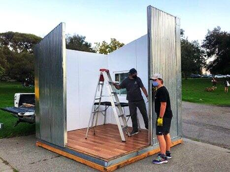 QuickHaven is a San Francisco-based company that produces small transitional shelters that can be put together in minutes for emergencies and the homeless.