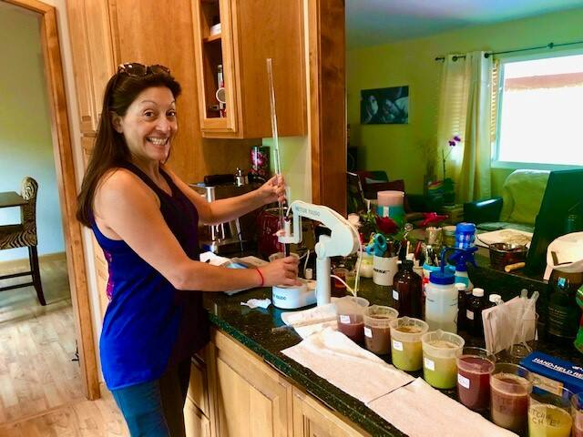 Theresa Heredia, director of winemaking for Gary Farrell Vineyards & Winery, created a lab at home to process grape juice samples in August 2020 during a mandatory evacuation.  (Gilda Estevez photo)