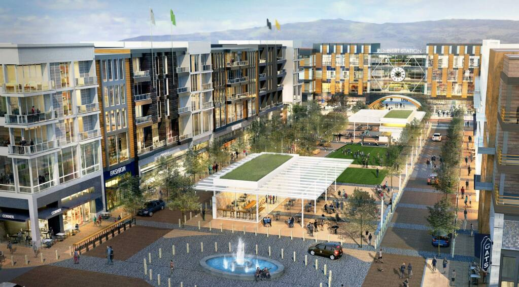 Station Avenue, formerly called Rohnert Station, envisions a mixed-use development with homes, offices, retail shops and a hotel on a 32-acre campus just south of Rohnert Park Expressway. (LAULIMA DEVELOPMENT)