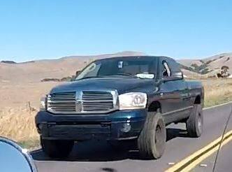 Authorities are searching for the driver of a dark blue Dodge Ram pickup, pictured in this image taken by passerby, that struck four cyclists southwest of Petaluma on Oct. 7, 2017. (Photo courtesy of the CHP)