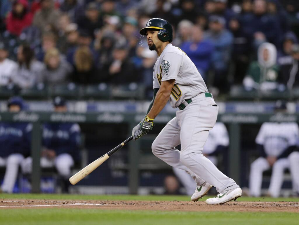 The Oakland Athletics' Marcus Semien bats against the Seattle Mariners, Saturday, Sept. 28, 2019, in Seattle. (AP Photo/John Froschauer)