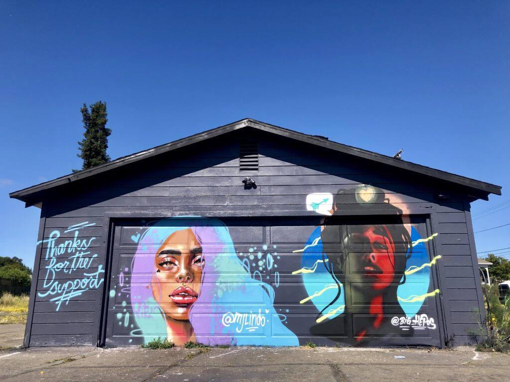 Mural restaurado en el área de SOFA en el centro de Santa Rosa , por artistas MJ Lindo-Lawyer, Joshua Lawyer y  Big Hepos.  Ricardo Ibarra / La Prensa Sonoma