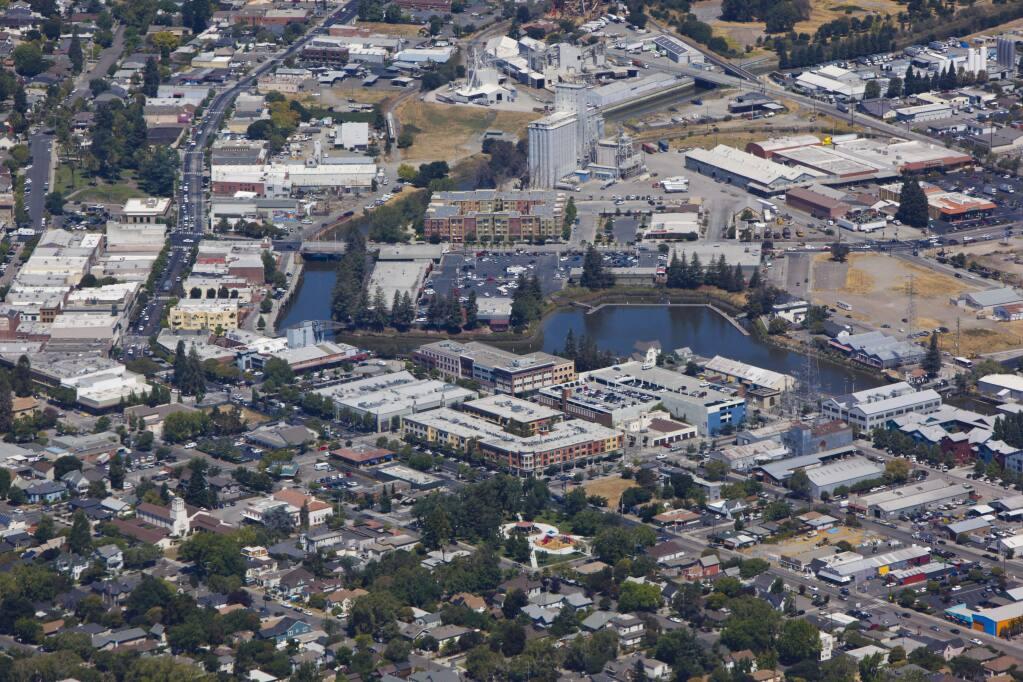 Petaluma, CA, USA. Monday, August 08, 2016._ Aerial view of downtown Petaluma. (CRISSY PASCUAL/ARGUS-COURIER STAFF)