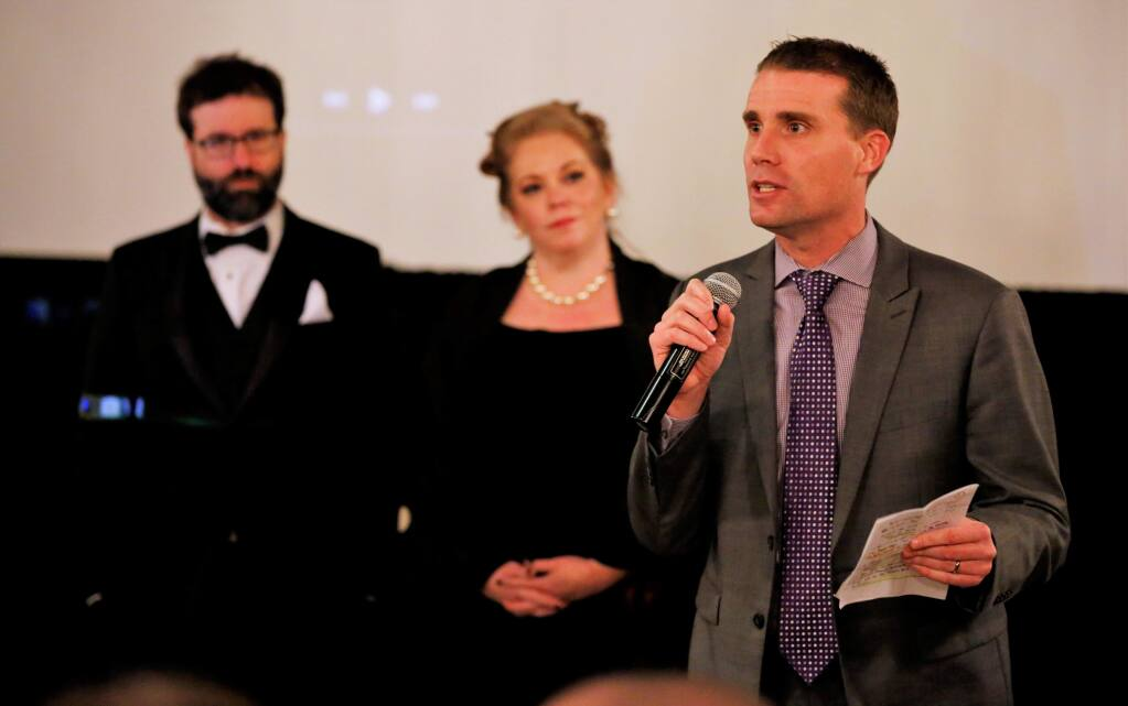 State Senator, Mike McGuire performed auctioneer duties in the live at the Oscar viewing party; 'Red Carpet Evening', a fund raiser for the Alexander Valley Film Society at Trione Winery in Geyserville, Sunday March 4th, 2018. (Photo Will Bucquoy/For the Press Democrat)