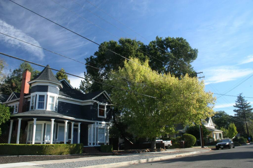 Just one block southeast of downtown Healdsburg, Tucker Street is a desireable neighborhood of older homes on a tree-lined street. (Christian Kallen/Sonoma Index-Tribune)