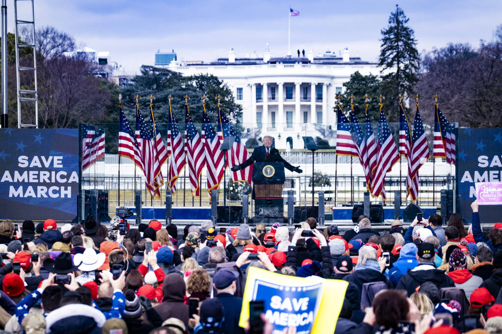 President Donald Trump speaks at a rally Wednesday before supporters forced their way into the U.S. Capitol. (PETE MAROVICH / New York Times)