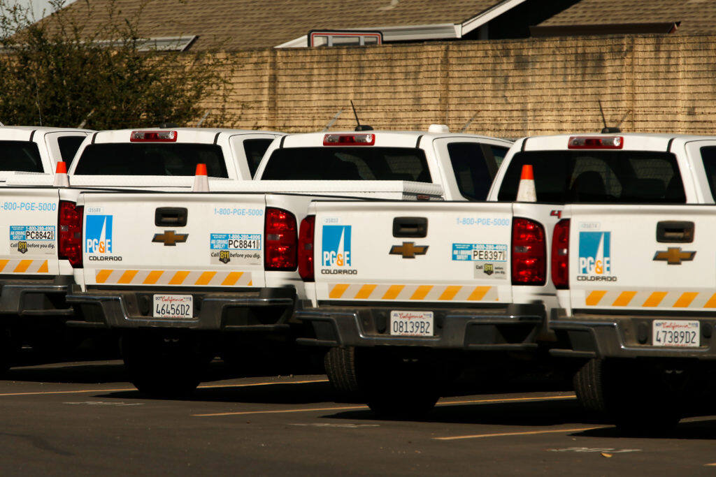 Pacific Gas and Electric trucks are seen parked at the PG&E service center on Occidental Road in Santa Rosa, California, on Thursday, October 10, 2019. (Alvin Jornada / The Press Democrat)