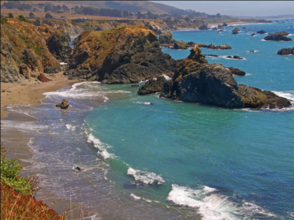 Gleason Beach can be reached from steep trail south of Duncans Landing along the Sonoma County coast.
