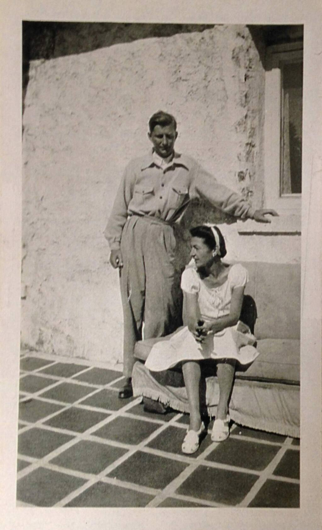 David Bouverie and his wife, Alice Astor, about 1942 at the west patio of his Glen Ellen home. (ACR archive photo)