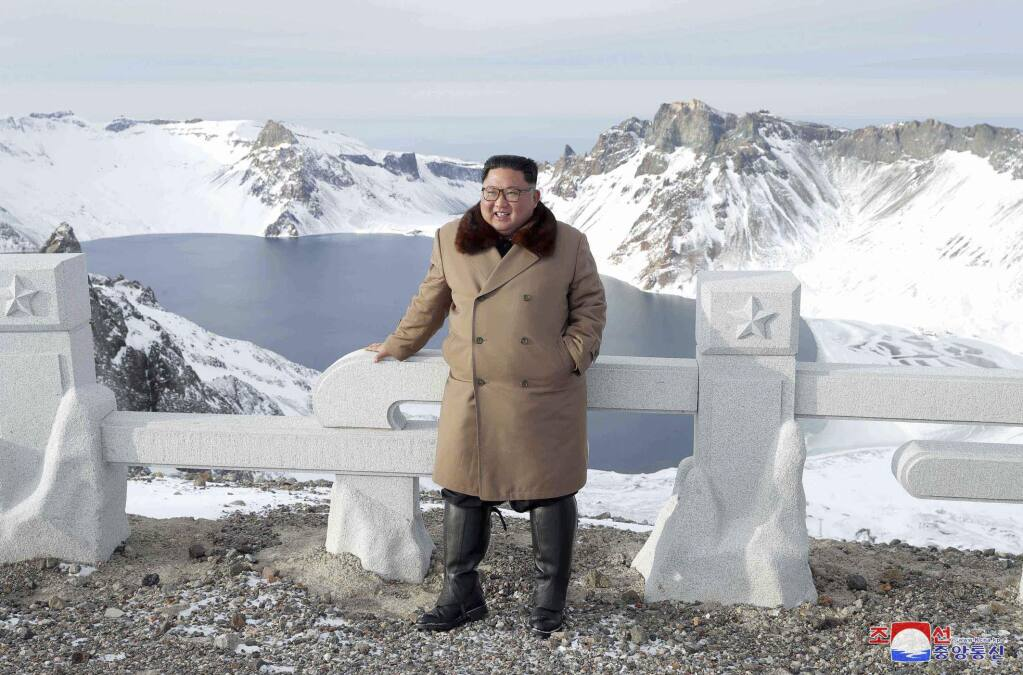 This undated photo provided on Wednesday, Dec. 4, 2019, by the North Korean government shows North Korean leader Kim Jong Un visits Mount Paektu, North Korea. North Korea says leader Kim has taken a second ride on a white horse to a sacred mountain in less than two months. Independent journalists were not given access to cover the event depicted in this image distributed by the North Korean government. The content of this image is as provided and cannot be independently verified. Korean language watermark on image as provided by source reads: 'KCNA' which is the abbreviation for Korean Central News Agency. (Korean Central News Agency/Korea News Service via AP)
