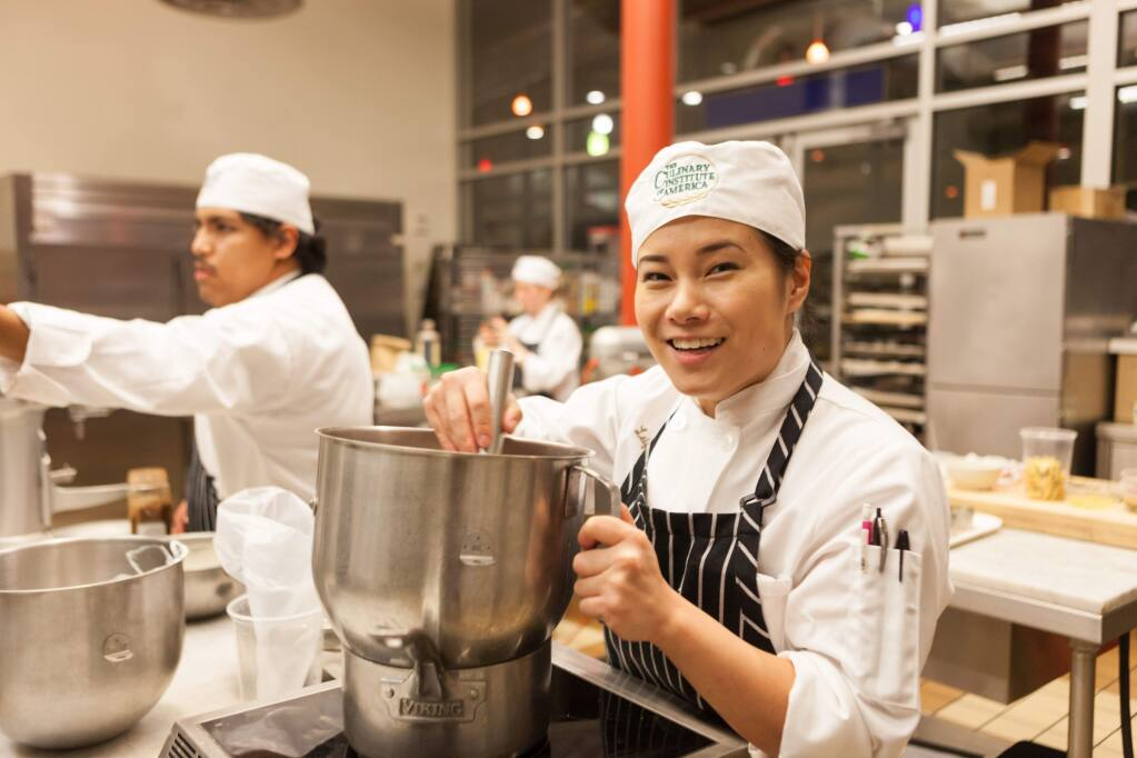 Bakery and pastry students at the Ghiradelli Chocolate Discovery Center, located at The Culinary Institute of America at Greystone campus in Napa Valley. (Phil Mansfield) 2015
