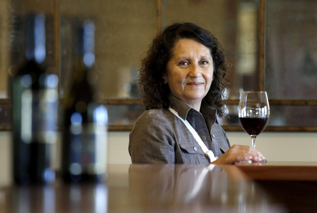 Amelia Moran Ceja is the president and owner of Ceja Vineyards at their new tasting room located next to the Carneros Brewing Company in Sonoma, California on Tuesday, October 28, 2014. (BETH SCHLANKER/ The Press Democrat)